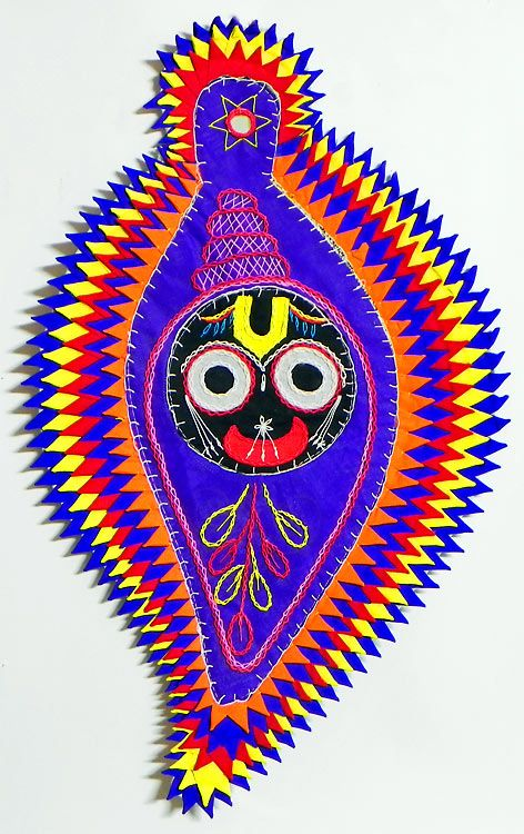 Face of Jagannathdev on Conch in Blue Appliqued Cotton Cloth - (Wall Hanging) (Applique Work on  Cotton Cloth))