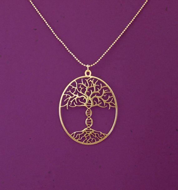 Árbol de la vida con el collar de ADN tronco - 24 quilates oro collar