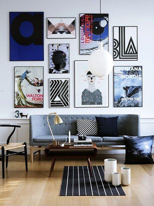 Parede de quadros. | 30 formas incríveis de decorar suas paredes sem gastar quase nada