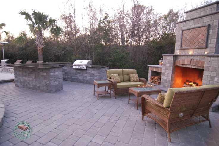 17 best images about lowcountry paver outdoor living for Outdoor fireplace and kitchen ideas
