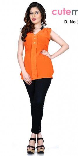 Cutemad Orange Georgette Designer T-Shirt