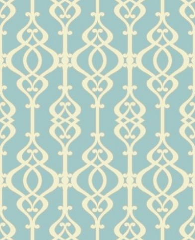 Balustrade Jewel (950601) - Sophie Conran Wallpapers - A beautiful, intricate symmetrical trellis pattern with a pearlescent/lustre sand effect texture - shown here in the cream on mid  blue colourway.  Paste the wall. Please request sample for true colour match.