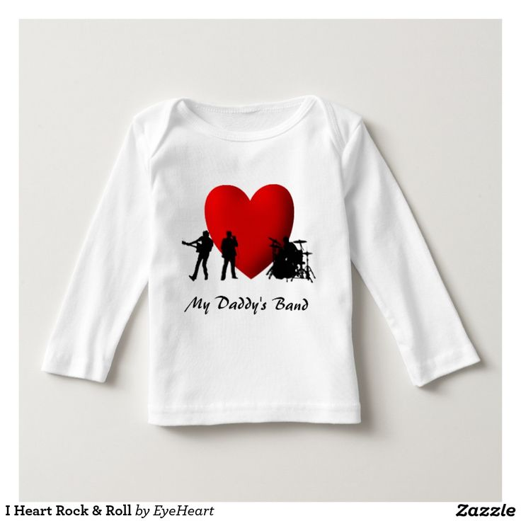 I Heart Rock & Roll Tshirt text can be changed or deleted #baby