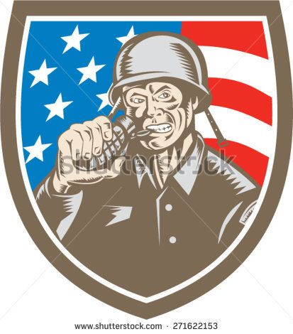 Illustration of a World War two American soldier serviceman biting grenade viewed from front inside shield crest with usa american stars and stripes flag the background done in retro woodcut style.   #soldier #veteran #woodcut #illustration
