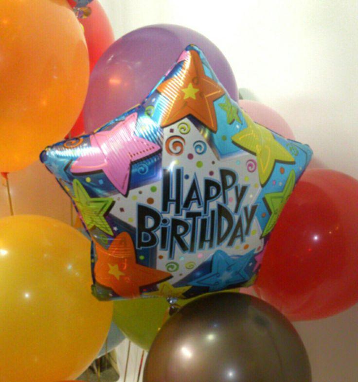 """Звездочка """"Happy birthday"""" со звездами. Riota.ru - воздушные шары, доставка шаров, оформление шарами, оформление шарами москва, оформление свадьбы, оформление дня рождения, декор, свадьба, день рождения, выписка из роддома, доставка шаров москва, романтический сюрприз, шары москва, шары с гелием, воздушные шарики, шары подпотолок, шарики москва, шарики с гелием, happy birthday , balloons"""