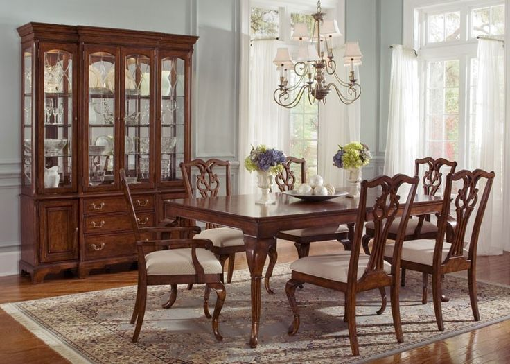 Ansley Manor Rectangular Leg Table Dining Room Set Sets Bedroom Furniture Curio Cabinets And Solid Wood