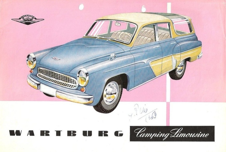 """The Wartburg 311-5 Camping Limousine, with rear windows that wrap right into the roof. The Wartburg was Eastern Germany's """"big car"""", compared to the more common Trabant. It was a development of the pre-war DKW, whose Eisenach factory ended up behind the Iron Curtain. That means a smoky 900 cc two-stroke three-cylinder engine, to cast a blue pallor to the great outdoors."""