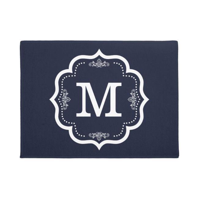 Blue Navy Monogram Doormat Zazzle Com Monogram Door Mat Wedding Initials Monogram Monogram