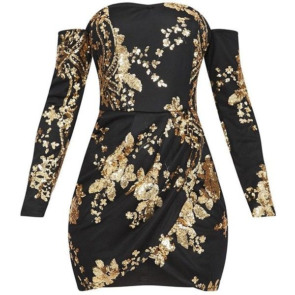 Black Floral Sequin Bardot Bodycon Dress ($60) ❤ liked on Polyvore featuring dresses, bodycon cocktail dresses, body con dress, botanical dress, floral pattern dress and floral cocktail dresses