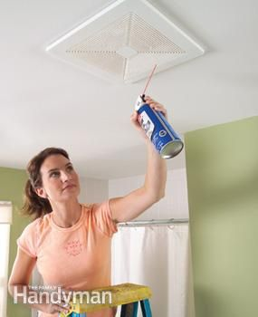 """Spray away dust with canned air - If the grille on your bathroom exhaust fan is clogged with dust, try a trick that's faster and more effective than vacuuming: Turn on the fan and blast out the dust with """"canned air"""". The fan will blow the dust outside. This works on the return air grilles of your central heating and cooling system too."""