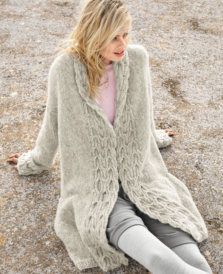 Пальто с рельефными планками - схема вязания спицами. Вяжем Пальто на Verena.ru