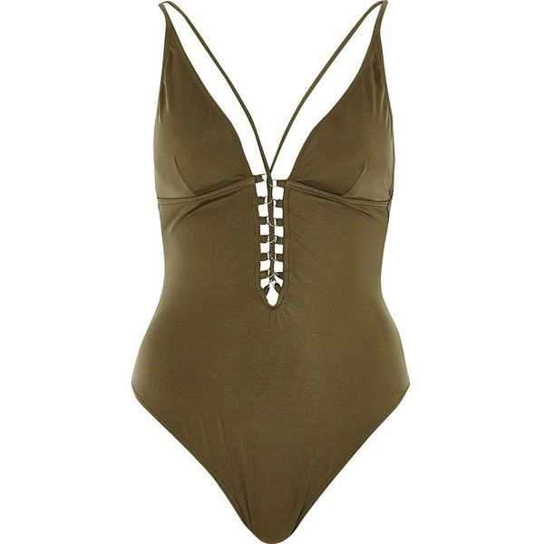 River Island Khaki green lace up plunge swimsuit (240 ILS) ❤ liked on Polyvore featuring swimwear, one-piece swimsuits, khaki, swimsuits, swimwear / beachwear, women, green swimsuit, strappy one piece swimsuit, swimsuit swimwear and plunging neckline swimsuit