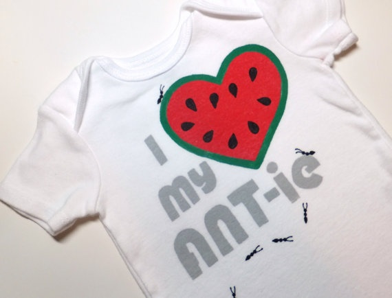 I Heart my ANTie Onesie Watermelon red with Grays