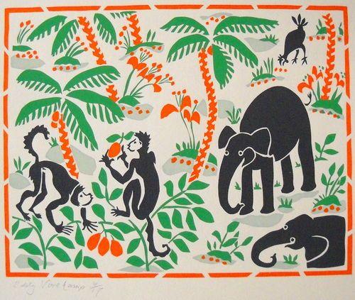Animals in the woods - Stencilprint