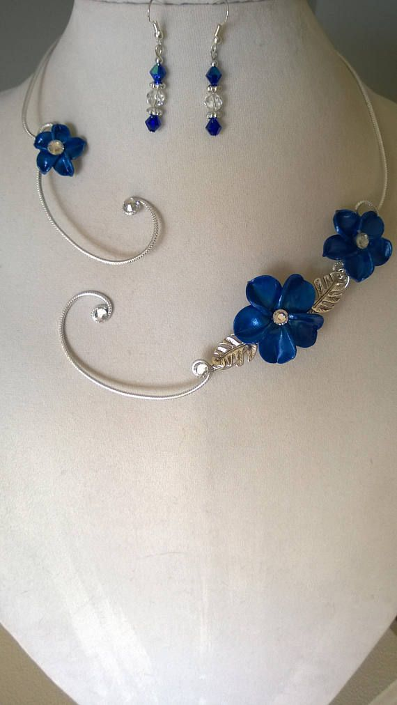 Royal blue wedding jewelry set Bridesmaid jewelry Open