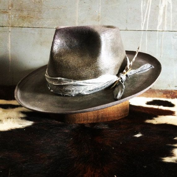 Aged and distressed custom wide brim hat This custom hat can be made with any details you like. Change it up, keep it the same, the choice is yours