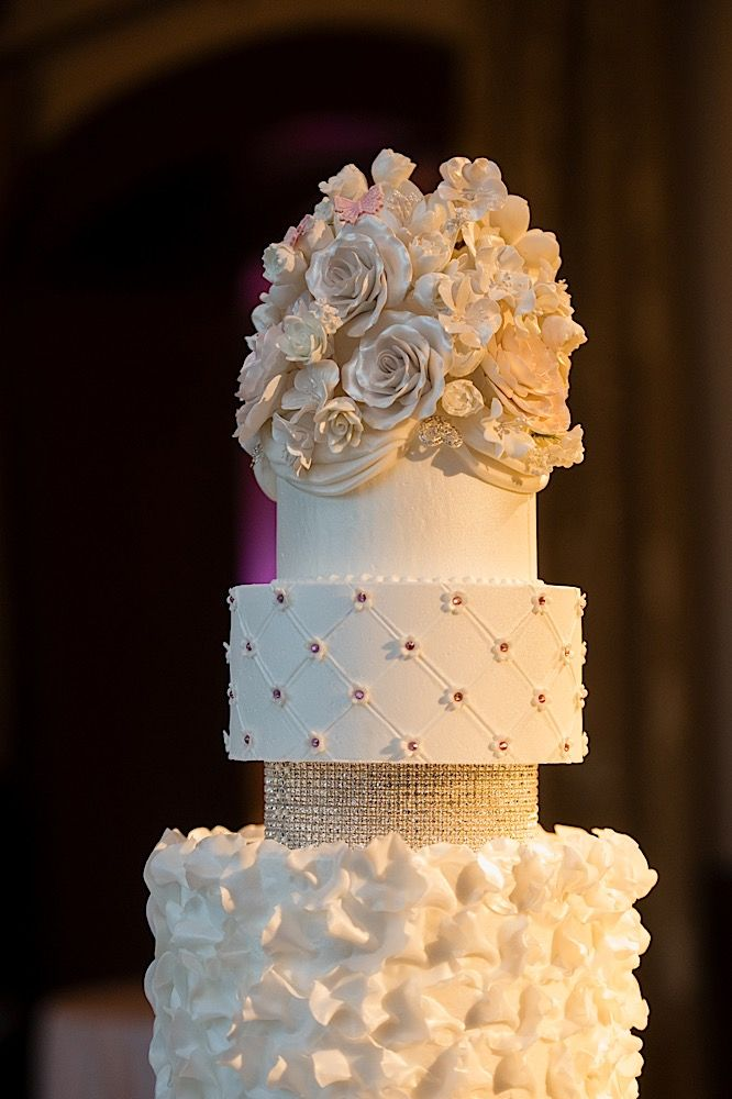 Flowers Butterflies And Pink Silver Crystals Accent This Gorgeous Bridal Cake