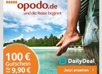 Dailydeal: Opodo-Gutschein über 100 Euro für 9,90 Euro https://www.discountfan.de/artikel/reisen_und_bildung/dailydeal-opodo-gutschein-ueber-100-euro-fuer-990-euro.php Via Dailydeal ist jetzt ein Opodo-Gutschein über 100 Euro zum Schnäppchenpreis von 9,90 Euro zu haben – einlösbar ist er für Reisen ab 400 Euro. Dailydeal: Opodo-Gutschein über 100 Euro für 9,90 Euro (Bild: Dailydeal.de) Der Opodo-Gutschein über 100 Euro für 9,90 Euro ist nur für kurze... #G