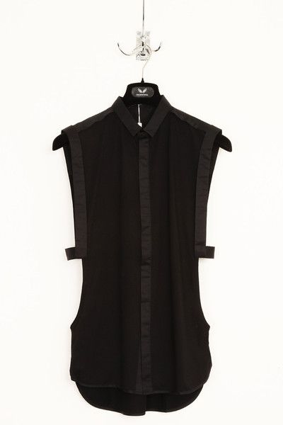 UNCONDITIONAL black open side shirt with straps.