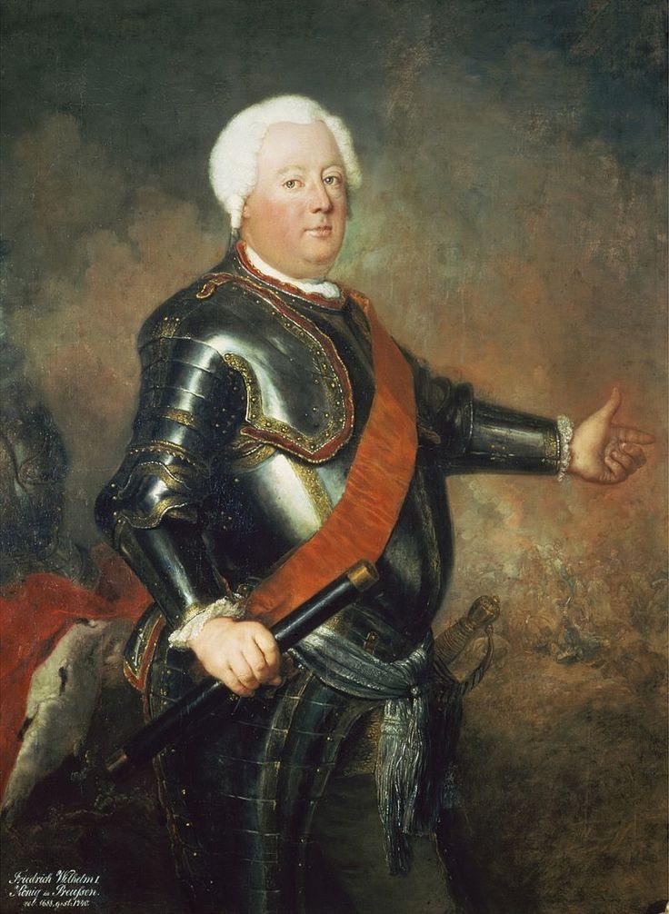Antoine Pesne - Król Fryderyk Wilhelm I (ok. 1733) - podczas wojny sympatyzował z Leszczyńskim (pozwolił schronić mu się w Królewcu)