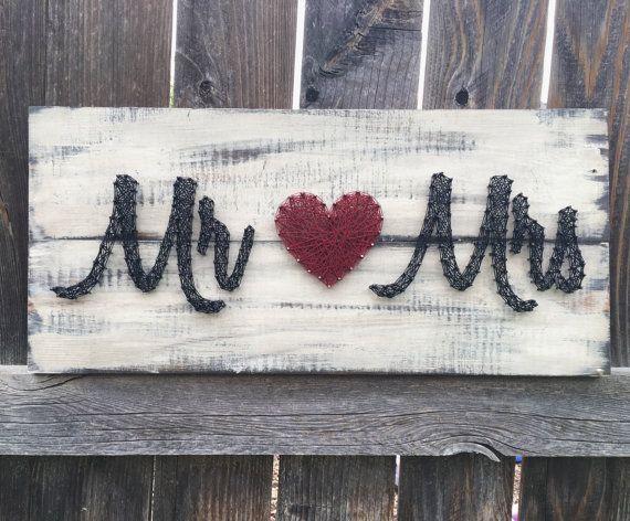 Mr. & Mrs. Nail & String Art Distressed von BrittonCustomDesigns #WoodWorking