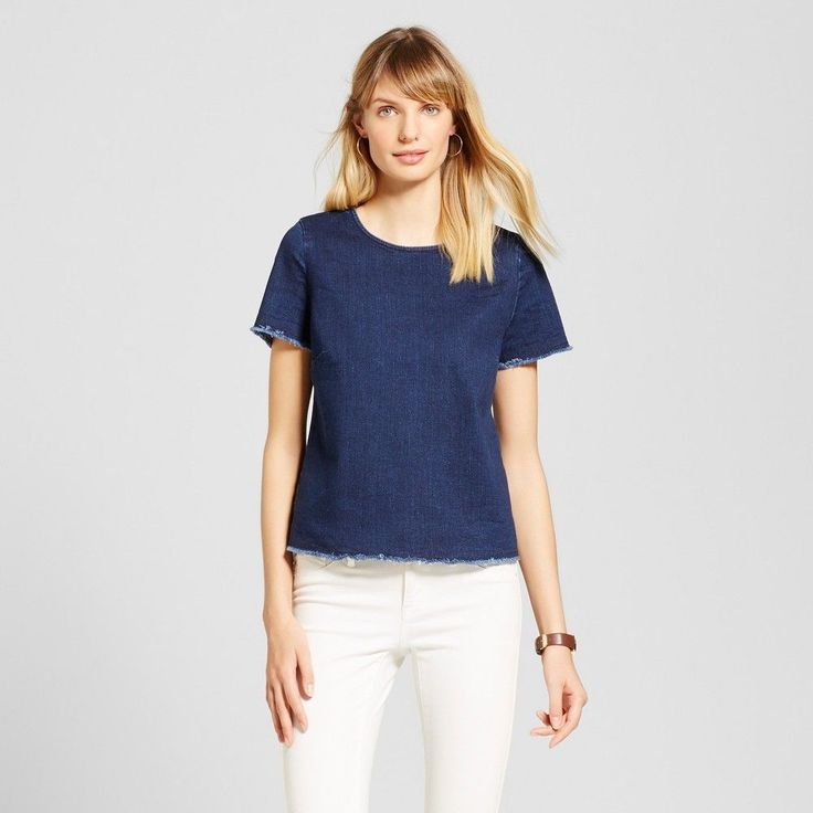 Women's Denim T-Shirt - Merona Dark Wash Xxl, Blue