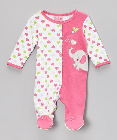 Take a look at this Pink & White Heart Elephant Footie - Infant by Carter's Watch the Wear on #zulily today!