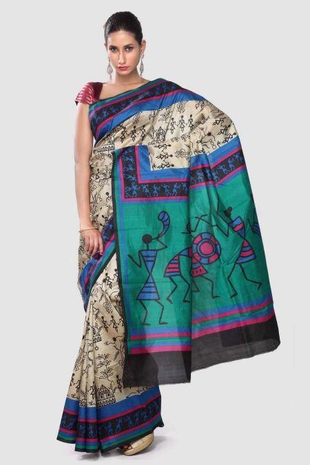Ecru Black Hand Printed Dupion Silk Saree