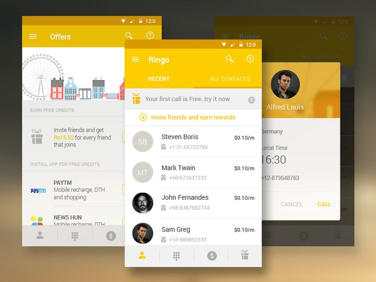 Ringo - International Calling app Android Material Design