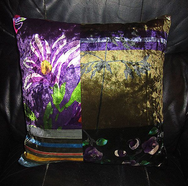 Purple cushion... what's not to love... however, a chaise lounge and arm chairs were also with this gorgeous material... couldn't afford them, but the cushion is a good start, so pretty