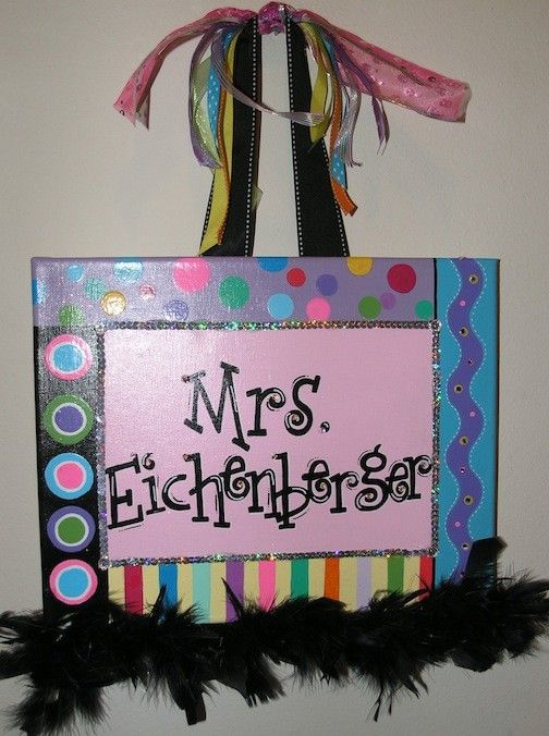 Personalized, Hand Painted Canvas Wall Art (11x14 multicolor/multidesign example). $35.00, via Etsy.