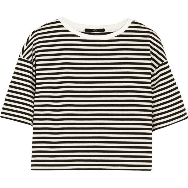 Tibi Ren cropped striped cotton-blend jersey top found on Polyvore