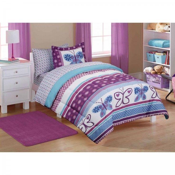 Girls Comforter Set Bed In A Bag Kids Bedding Set Shams Sheets Full Butterfly #MainstaysKids