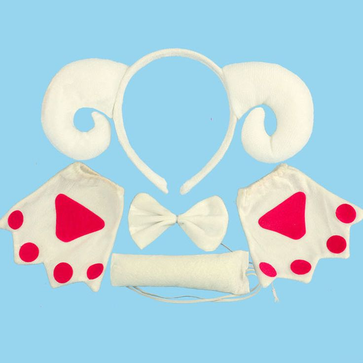 Boy Christmas White Sheep Animal Headband Ears Bow Tie Tail Paws Set Masquerade Halloween Carnival Party Supplies Party Favors #Affiliate