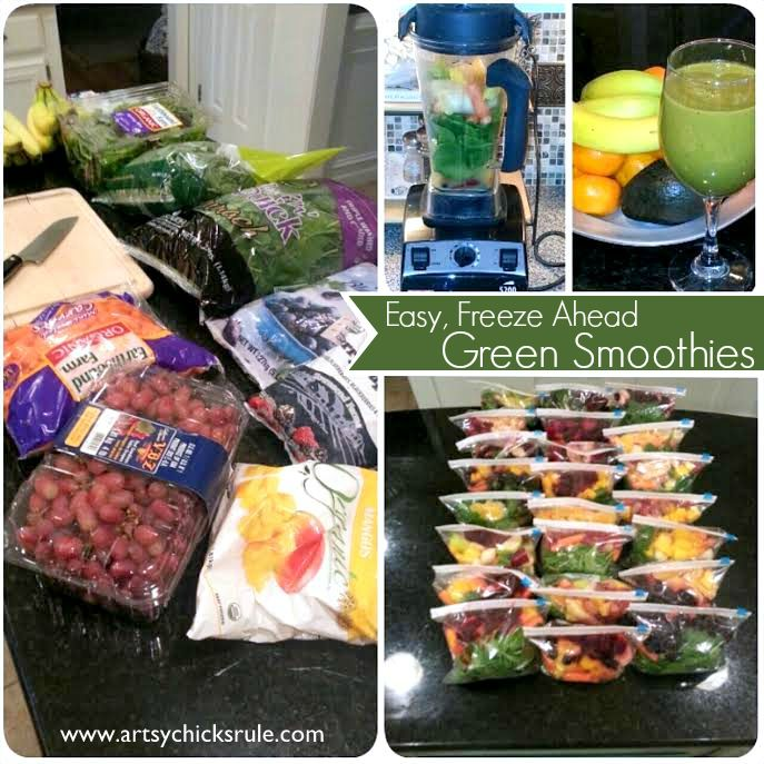 Pack up prepared veg & fruit into individual servings. Just grab from the freezer and throw it in the Vitamix with some liquid for a quick smoothie.
