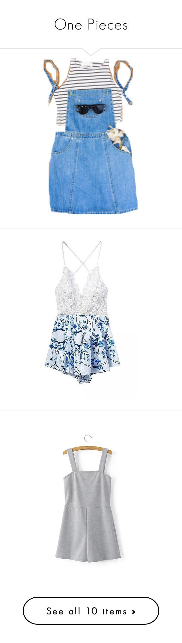 """One Pieces"" by xxpai ❤ liked on Polyvore featuring jumpsuits, rompers, dresses, playsuit, yoins, blue, floral jumpsuit, white jumpsuit, white lace rompers and white floral romper"