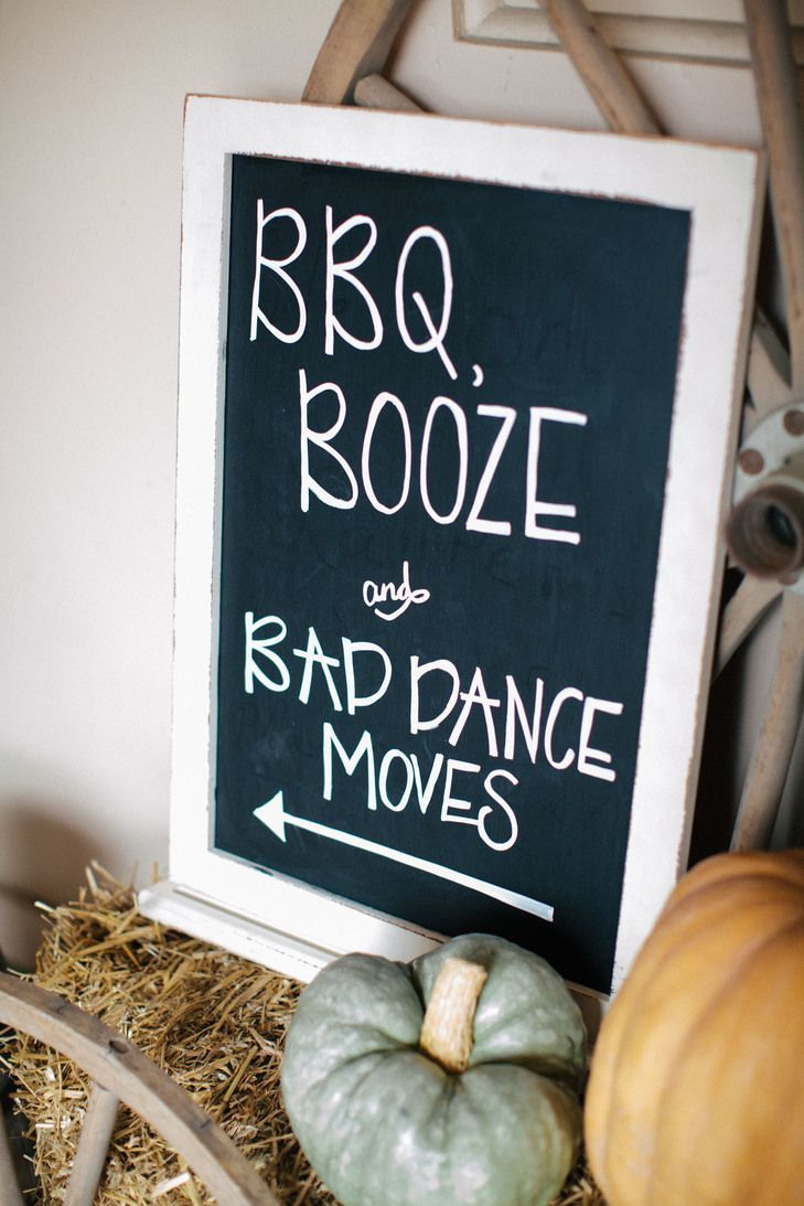 Directional signage to help your guests find your wedding reception. BBQ Booze and bad dance moves. Cute wedding signs you need - 2017 wedding trends.