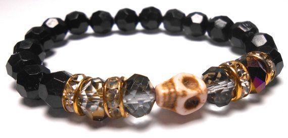 White Skull Stretch Plastic Bracelets  Arm Candy  by ShopJosette