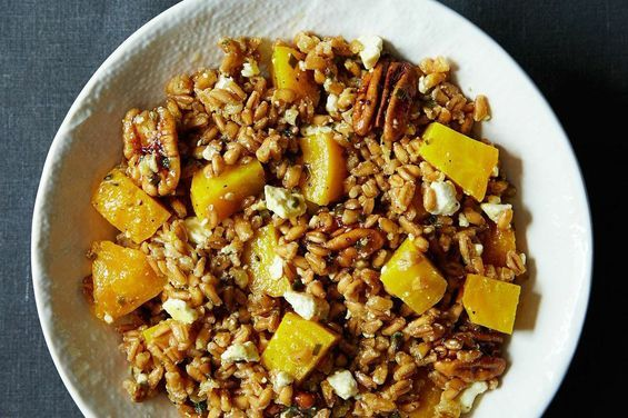 Farro, Golden Beet, and Feta Salad with​ ​Pecans and Chive-Sage Dressing, a recipe on Food52