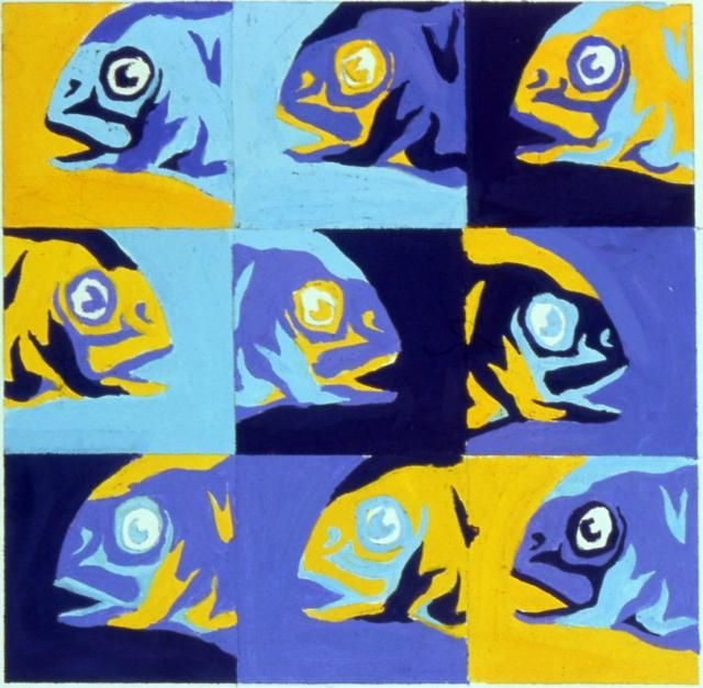 Fish Pop Art - same print block multi colors...reduction prints?