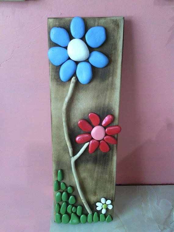 Pebble flowers wall hanging by Pannellicrafts on Etsy