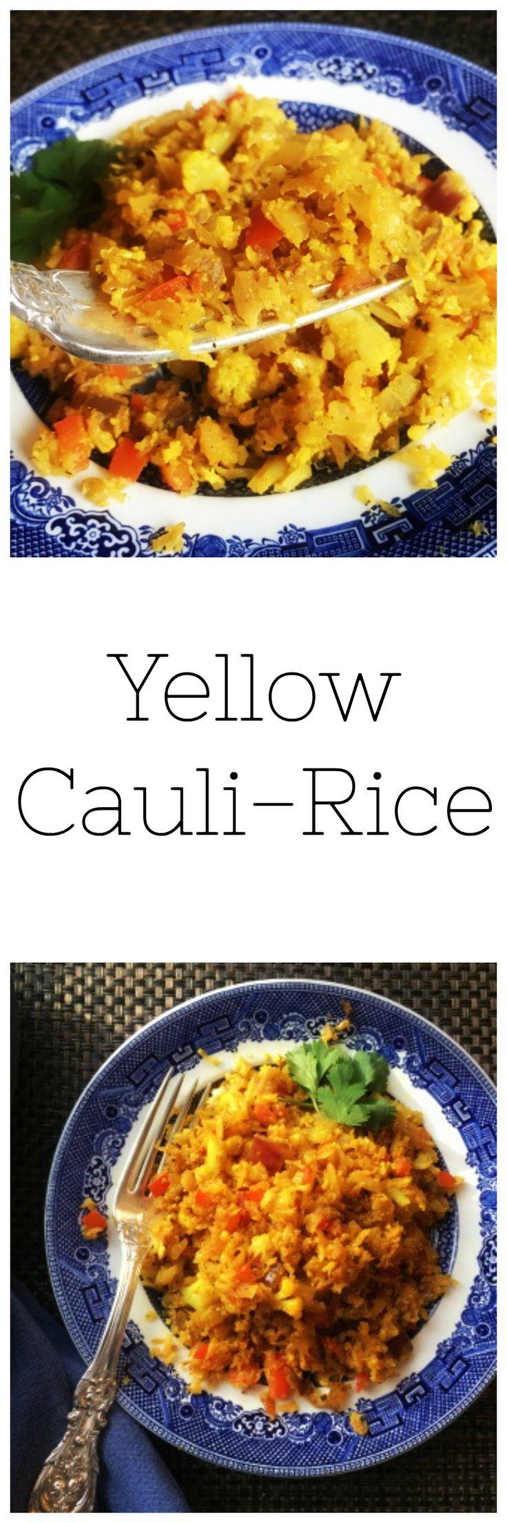 "Whole30 Yellow ""rice"". Delicious, grain free Mexican side dish, Paleo yellow rice, paleo potluck idea. :)"