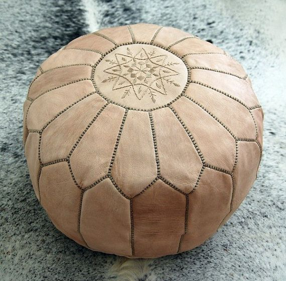Moroccan leather Pouf Ottoman Poof Pouffe pouffes beanbag hassock Footstool Natural leather