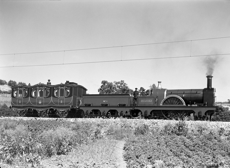 "1887_ Portuguese Royal Train_ Comboio Real ( carruagem ""Maria Pia"" e locomotiva ""D.Luiz"")"