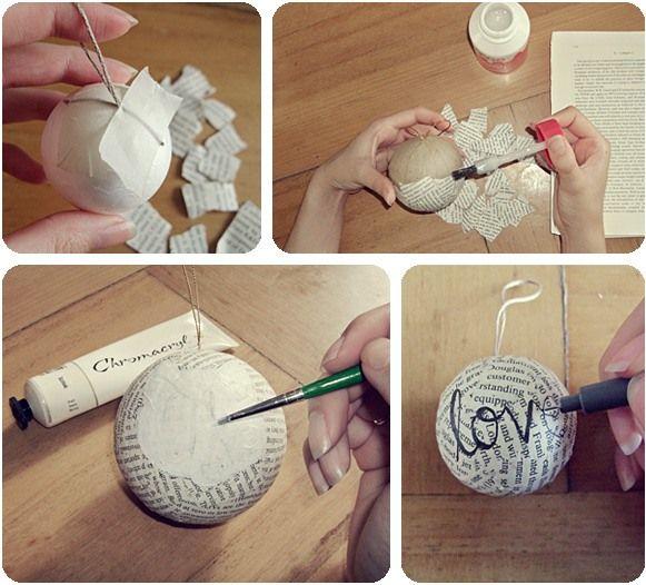 weihnachtsbaumkugel basteln styropor kugel papier buchseiten bekleben