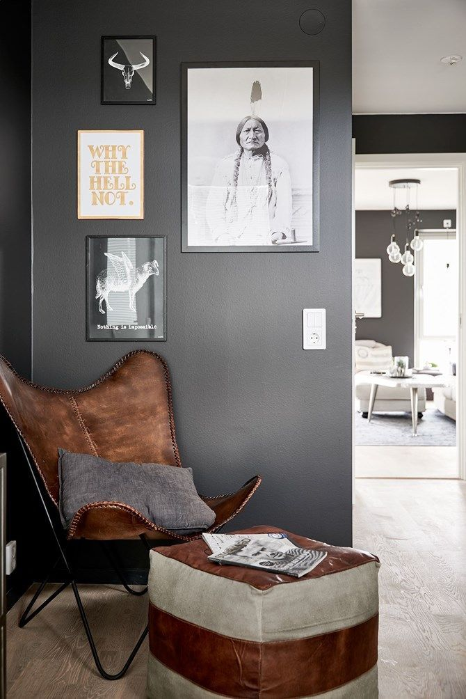 Love The Dark Wall And Contrasting Pieces Of Art Very Industrial