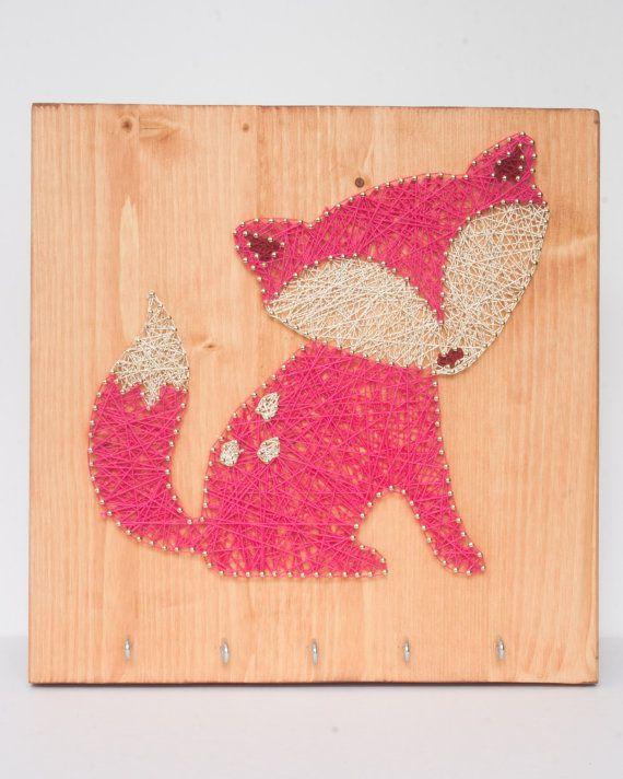 Sleutel sieraden houder met fox decor houten wand decor Fox