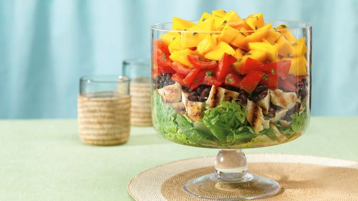 For a tropical theme party or casual buffet, this colorful creation will bring a ray of sunshine.