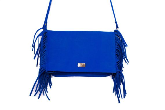 Fringe Leather Bag Ultramarine blue leather fringe by MONAObags