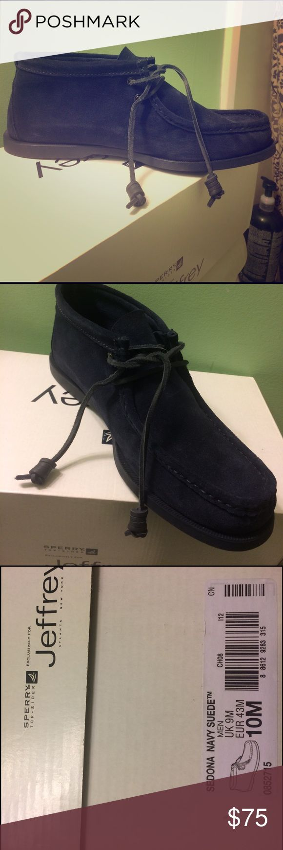 Sperry Navy suede moccasin high tops. Beautiful navy blue suede moccasin high tops! Still new in box! Made by Sperry for Jeffrey.                                                               Mens US 10M, UK9M, EUR10M Sperry Shoes Boots
